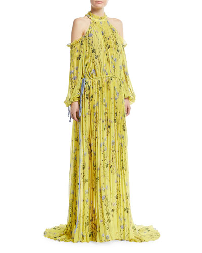Floral-Printed Cold-Shoulder Pleated Evening Gown