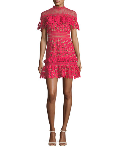Star-Guipure Yoke Frill Mini Cocktail Dress
