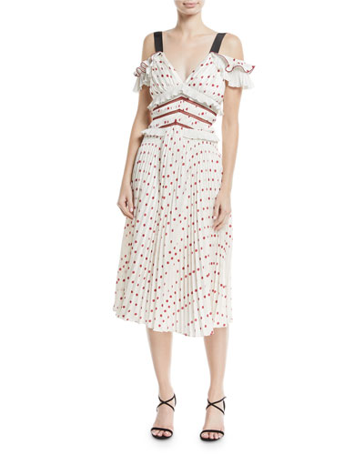 Cold-Shoulder Satin Polka-Dot Midi Cocktail Dress