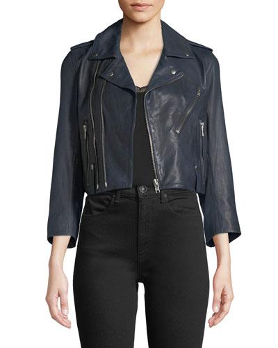 Liyo Cuir Zip-Front Crop Leather Jacket