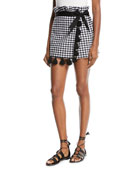 Kayin Gingham-Print Skort with Tassels