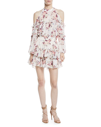 Farren Cold-Shoulder Floral-Print Tiered Mini Dress