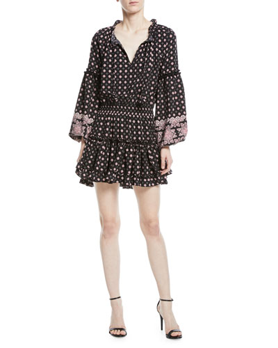 Aurora V-Neck Bell-Sleeve Printed Short Dress