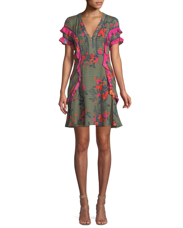 Rhett Falling Floral-Print Silk Short Dress