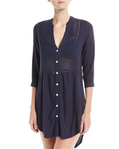 Midnight Soft Chemise Button-Front Beach Shirt