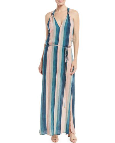 V-Neck Sleeveless Striped Coverup Maxi Dress