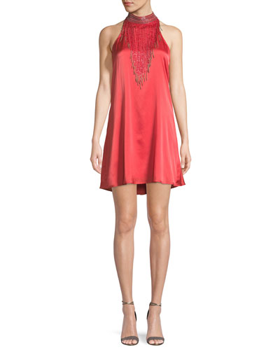 Wanted Fringe-Neck Mini Cocktail  Dress