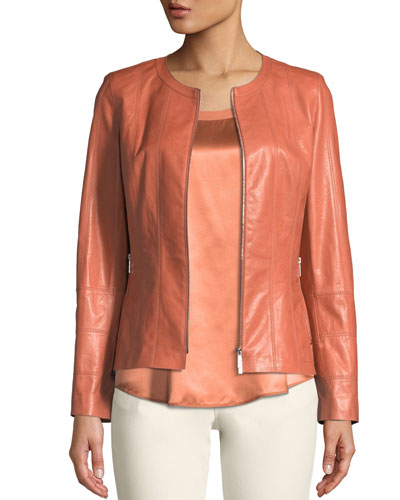Courtney Round-Neck Leather Zip Jacket