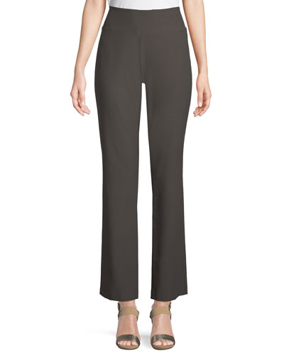 Stretch Crepe Boot-Cut Pants, Plus Size