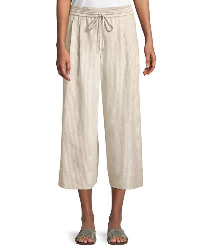 Reade Striped Wide-Leg Crop Pants