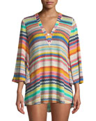 V-Neck Bell-Sleeve Coverup Tunic