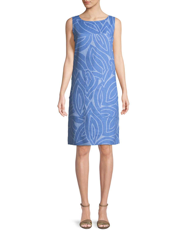 Farah Sleeveless Linen Dress, Bluebird Multi