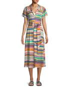 Short-Sleeve Button-Down Coverup Dress