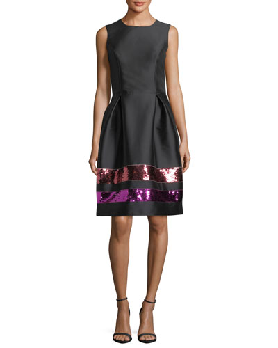 Sequin-Striped Taffeta Cocktail Dress
