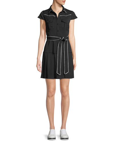 Button-Front Cap-Sleeve Pleated Shirtdress