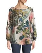 Jungle-Print Blouson-Sleeve Blouse
