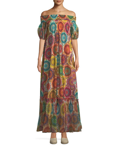 Kaleidoscope-Print Off-the-Shoulder Maxi Dress