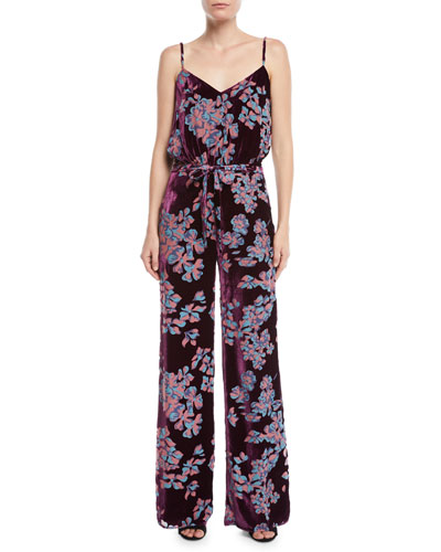 SALONI LORETTA V-NECK WIDE-LEG PRINTED SILK JUMPSUIT