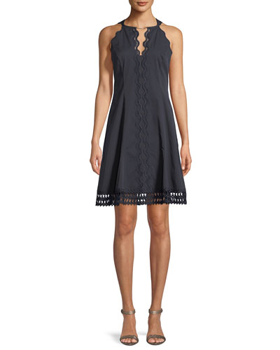 Kashma Mini Dress w/ Floral Lace