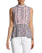 Jamie Sleeveless Mock-Neck Floral-Print Peplum Top