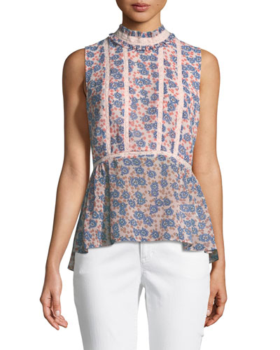 Jamie Sleeveless Mock-Neck Floral-Print Peplum Top