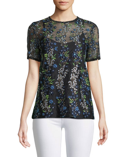 Val Botanical Vines Sheer Top