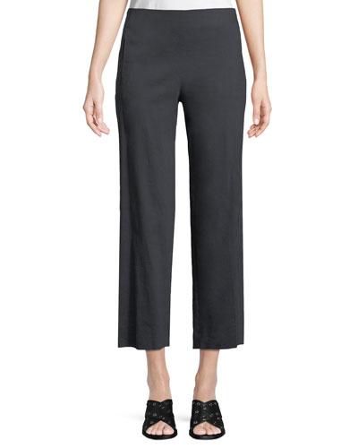 Odette Cropped Straight-Leg Pants, Navy