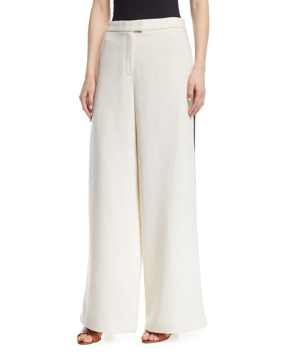 Cara Side-Stripe Wide-Leg Terry Pants