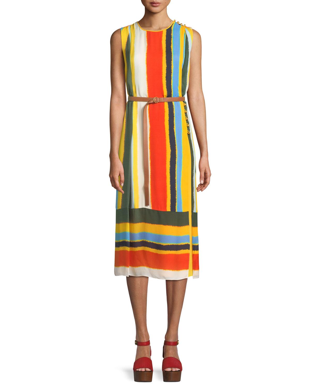 BETTINA RUNWAY STRIPED SILK DRESS