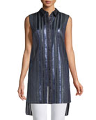 Divitra Striped Sleeveless Tunic