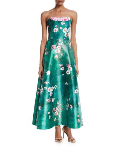 Cherry Blossom Crumb-Catcher Strapless Gown
