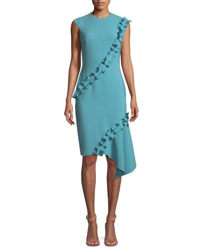 Double-Asymmetric Ruffle Crepe Sleeveless Cocktail Dress