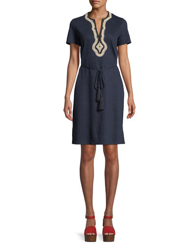 Liliana Embroidered-Trim Jersey Dress