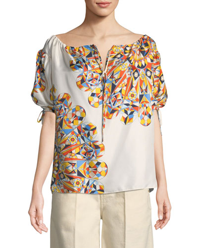 Alyssa Geometric-Print Silk Top