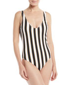 Aristi Scoop-Neck Striped One-Piece Swimsuit