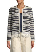 Payton Striped-Tweed Cardigan