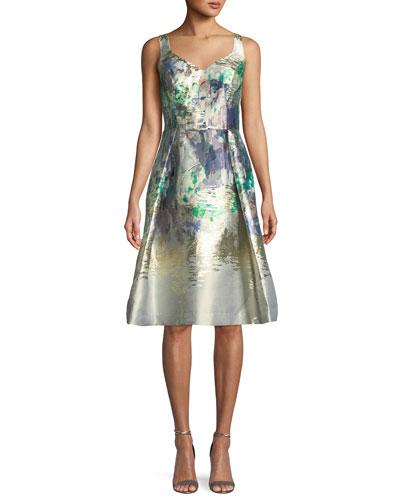 Metallic Sweetheart Sleeveless Dress
