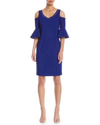 V-Neck Cold-Shoulder Cocktail Dress w/ Eyelet Trim