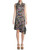 Tira Sleeveless Tiny Floral-Print Silk Dress w/ Asymmetric Hem