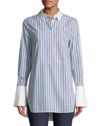 Arlette Button-Down Tuxedo Striped Shirt
