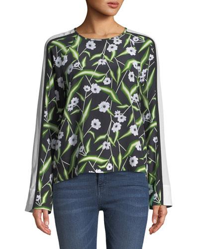Abilene Floral-Print Silk Top with Wide Stripe Sleeve
