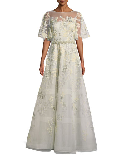 Embroidered Lace Gown w/ Beaded Trim