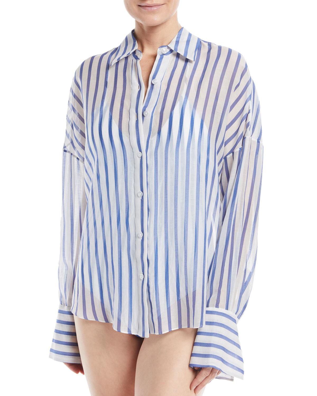 Jetset Button-Front Cotton-Silk Coverup Blouse