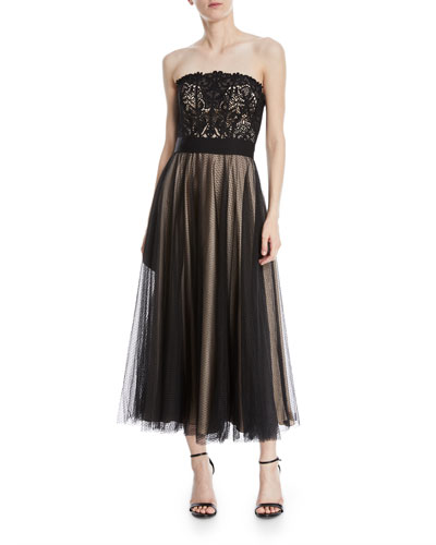 Kayson Graphic Lace Strapless Midi Dress