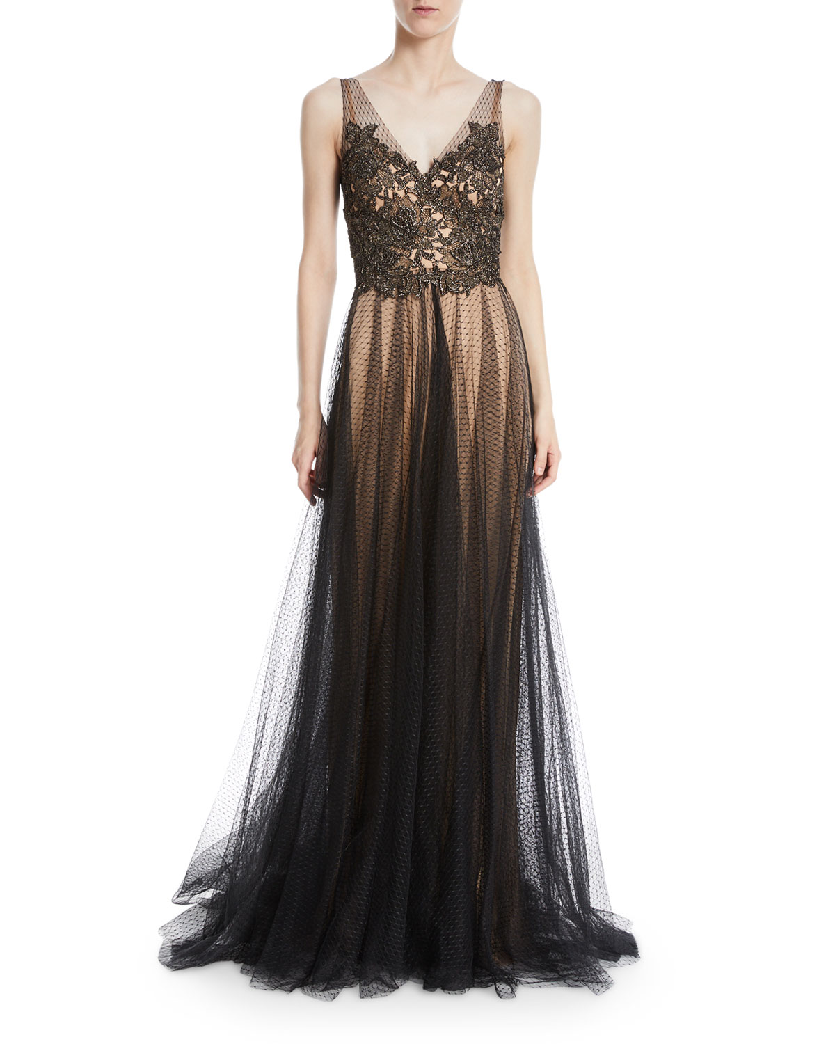 CATHERINE DEANE KNIGHT METALLIC V-NECK TRUMPET GOWN