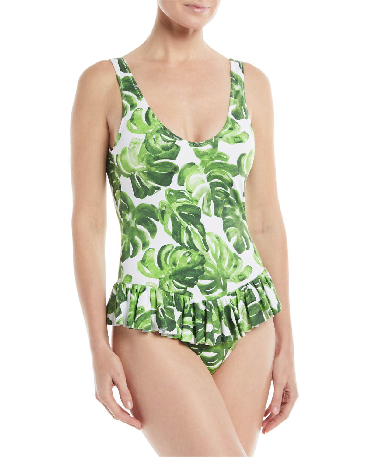 Tinos Palm-Print One-Piece Swimsuit with Ruffled Skirt