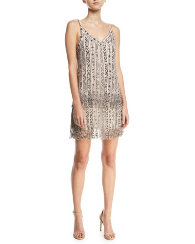 Wild Rose Embellished Tulle Mesh Mini Cocktail Dress
