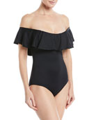 Margarita So Solid Ruffled Off-the-Shoulder One-Piece Swimsuit
