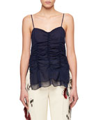 Ruched Silk Georgette Top