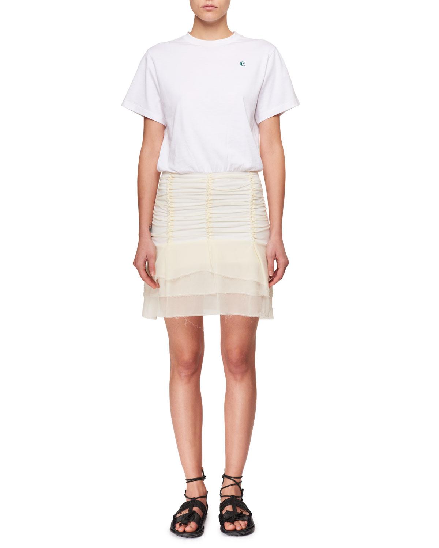 e7093f5b53d9 Ruched Jersey and Silk Combo T-shirt Dress
